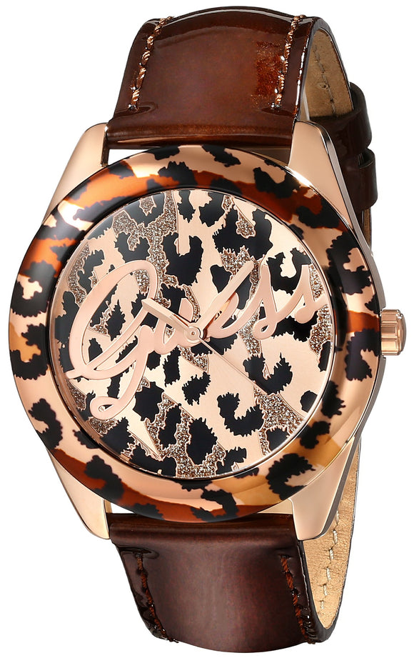 GUESS Women's U0455L3 Iconic Brown Animal Print Watch with Rose Gold-Tone Accents Womens Watches GUESS