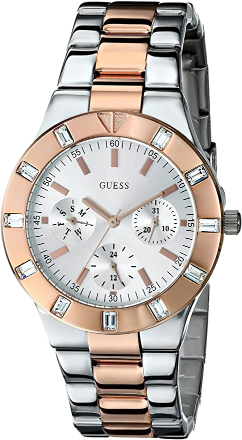 GUESS Women's U12649L1 Feminine High Shine Silver-Tone Mid-Size Sport Watch Womens Watches Guess