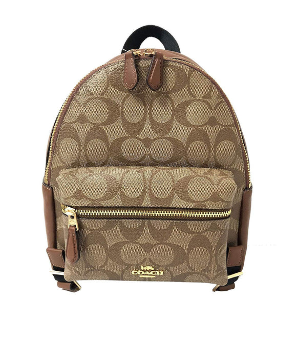 Mini Charlie Backpack In Signature Coated Canvas (Coach F58315) Womens Backpacks Coach