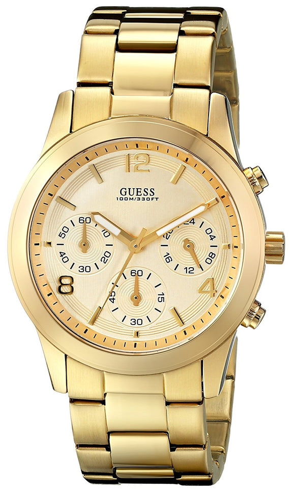 Guess Women'S U13578L1 Contemporary Gold-Tone Chronograph Watch Womens Watches Guess