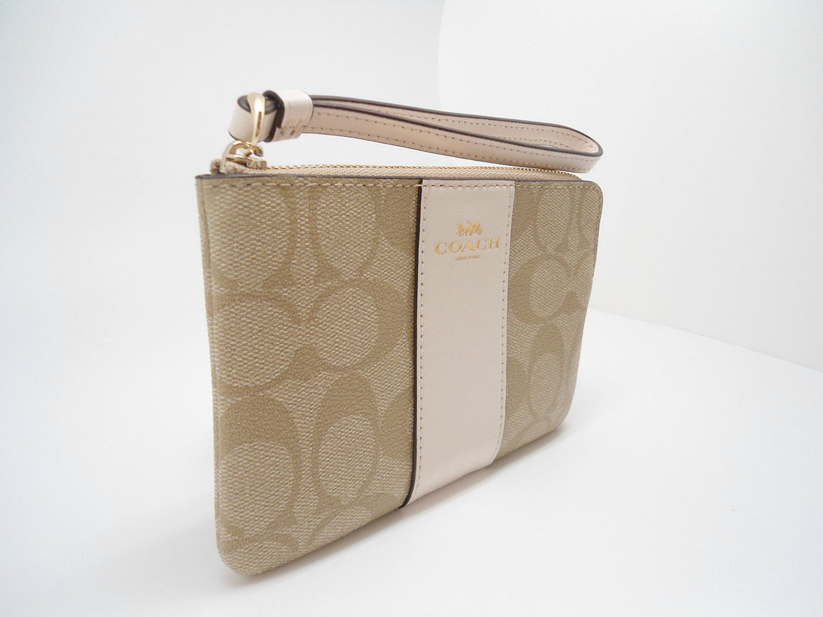 Corner Zip Wristlet In Signature Coated Canvas With Leather Stripe (Coach F58035)