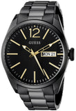 Guess Men'S U0657G2 Trendy Black Stainless Steel Watch With Day & Date Dial And Black Deployment Buckle Mens Watches Guess