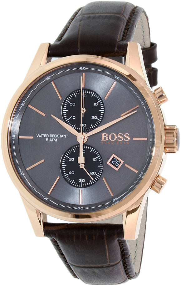Hugo Boss Jet Black / Rose Gold / Brown Leather Analog Quartz Chronograph Men'S Watch 1513281 Mens Watches Hugo Boss