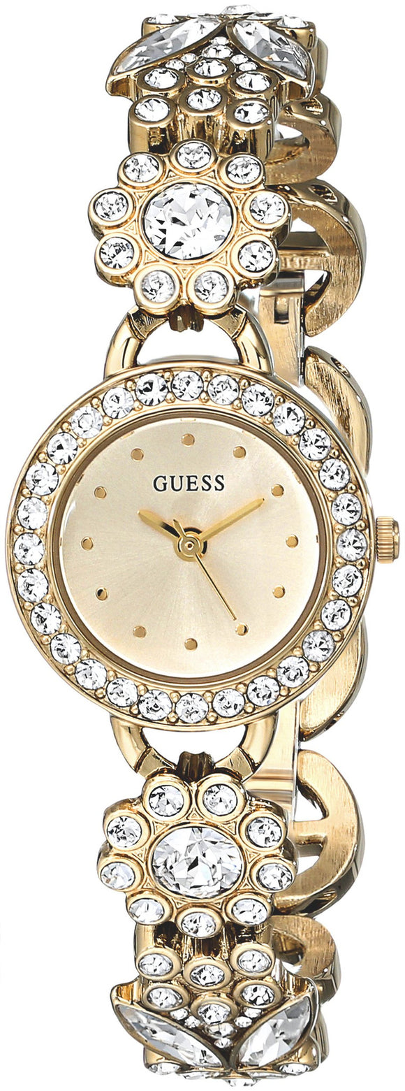 Guess Women'S U0527L2 Gold-Tone Jewelry Inspired Watch With Genuine Crystals & Self-Adjustable Bracelet Womens Watches Guess