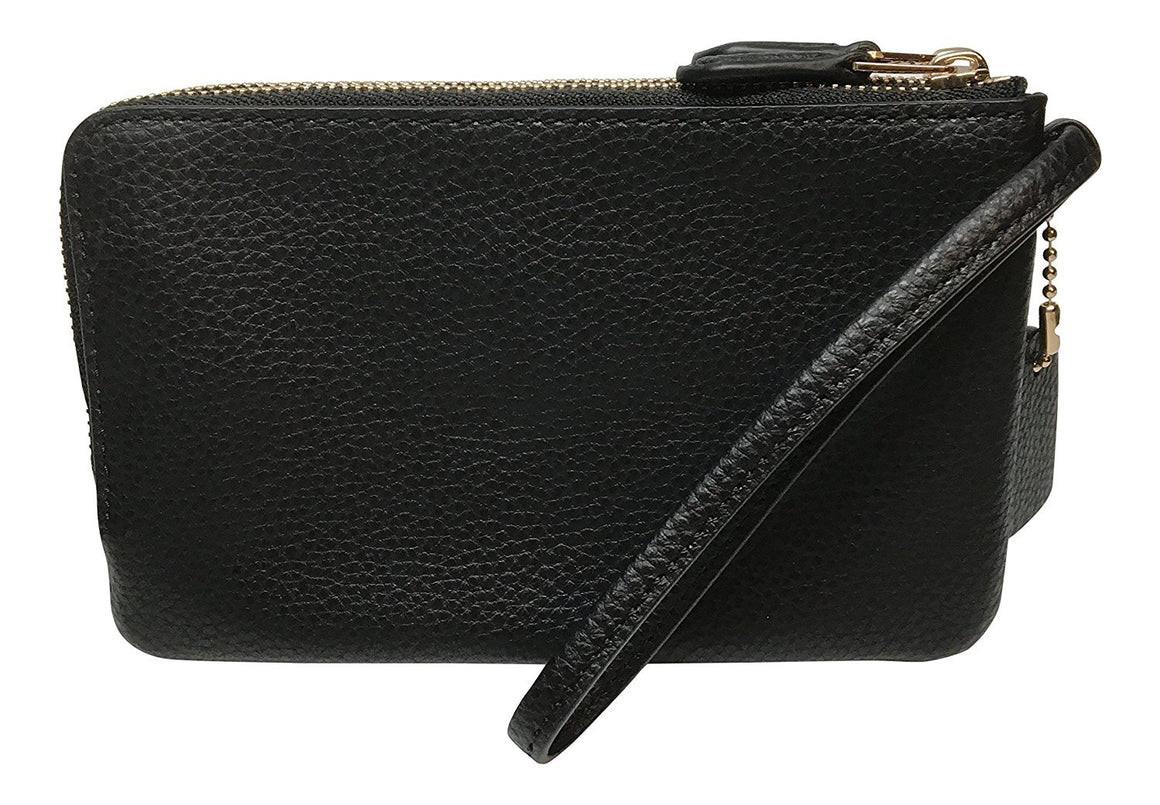 Double Corner Zip Wallet In Polished Pebble Leather (Coach F87590)