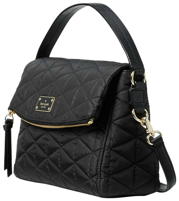Kate Spade WKRU4662 Wilson Road Quilted Miri Black Nylon Cross Body Bag Women's Handbag Womens Handbags Kate Spade