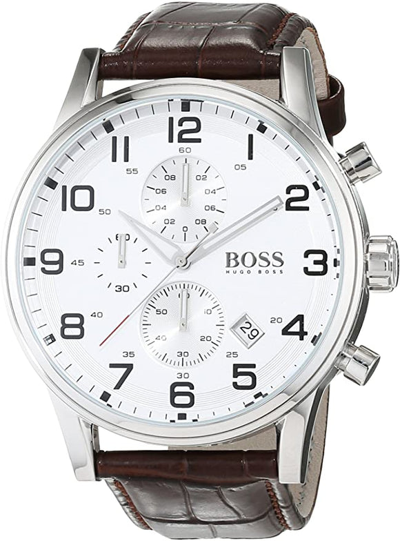 Hugo Boss Mens Brown Leather Silver Dial Watch 1512447