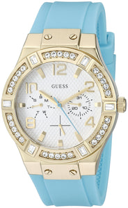 GUESS Women's U0426L3 Gold-Tone Multi-Function Turquoise Watch Womens Watches Guess
