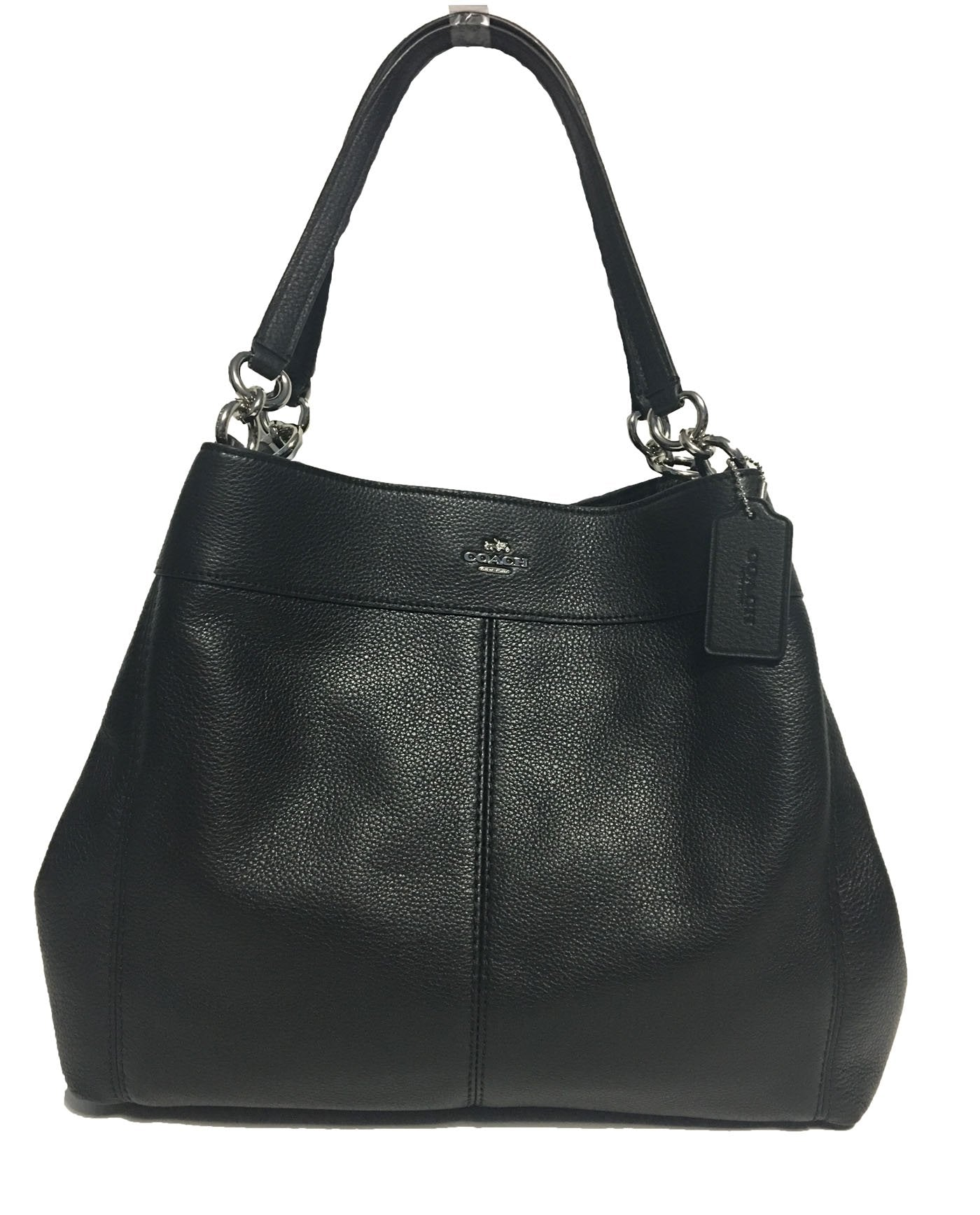 24be08261f38 Coach Lexy Shoulder Bag In Pebbled Leather Black With Silver Hardware F57545