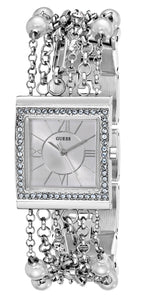 Guess Women'S U0140L1 Pearl Embellished Silver-Tone Bracelet Watch Womens Watches Guess