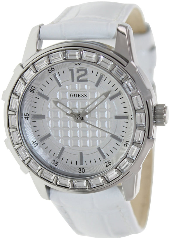 Guess Watch, Women'S White Croco-Grain Leather Strap U0019L1 Womens Watches Guess