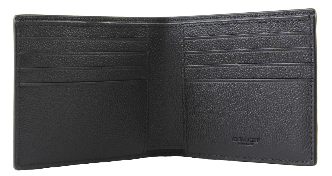 Compact Id Wallet In Sport Calf Leather (Coach F64118) Black Mens Wallets Coach