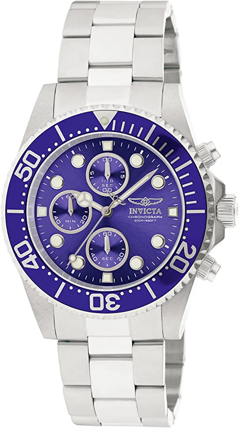 Invicta Men's 1769 Pro Diver Stainless Steel Watch with Silver/Blue Dial