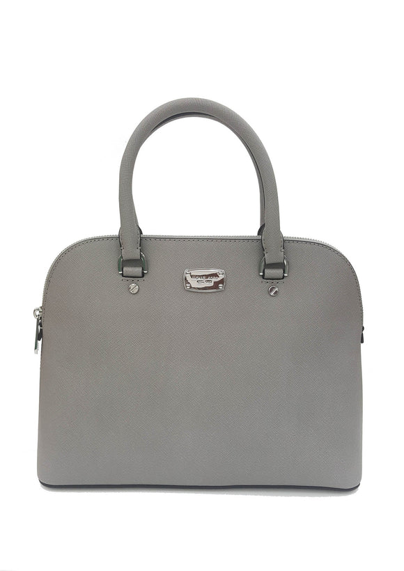 Michael Kors Cindy Lg Dome Satchel Leather Pearl Grey (35S6Scps3L) Womens Handbags Michael Kors