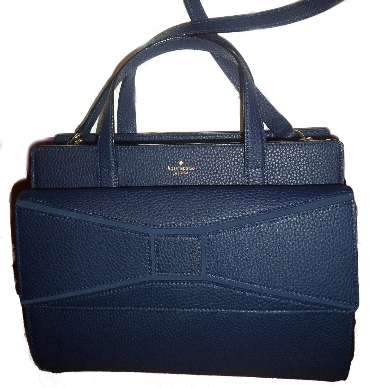 Kate Spade Chantal Bridge Place French Navy Leather Tote Womens Handbags Kate  Spade cf3fbe8d408fb