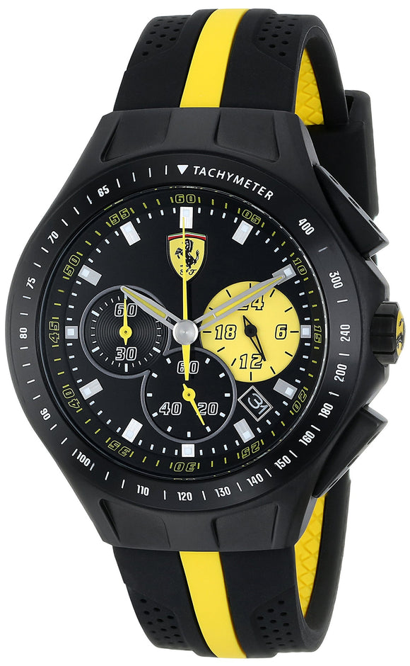 Ferrari Men'S 0830025 Race Day Stainless Steel Watch With Yellow-Striped Black Silicone Strap Mens Watches Ferrari
