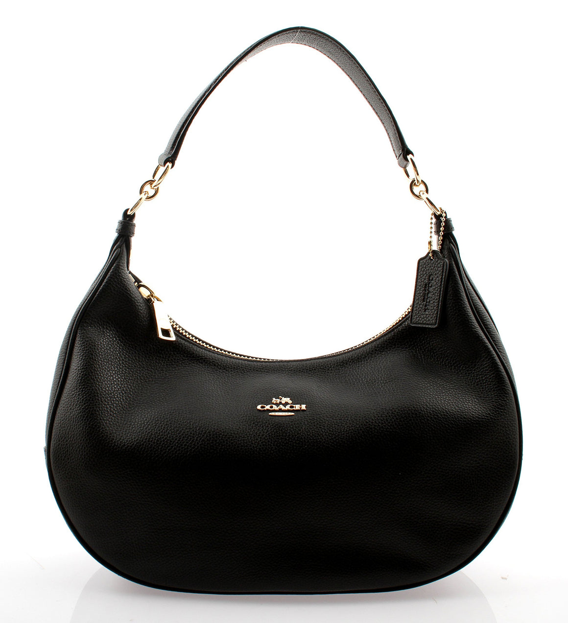 Harley East/West Hobo In Pebble Leather (Coach F38250)  Gold/Black Womens Handbags Coach