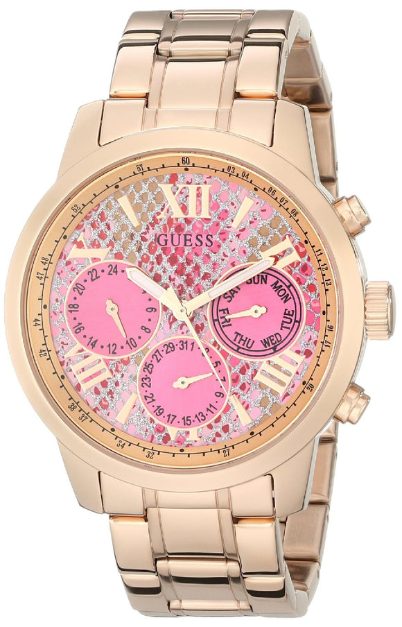 Guess Women'S U0330L14 Stainless Steel Rose Gold-Tone Watch With Pink Python-Print, Day, Date & 24 Hour Int'L Time Womens Watches Guess