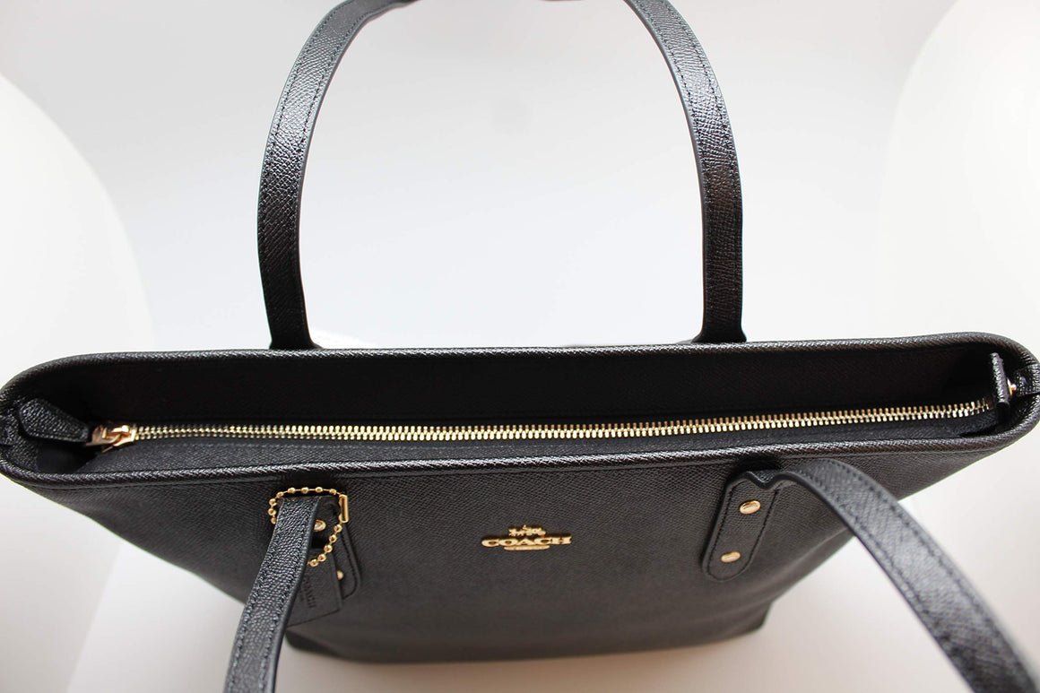 City Zip Tote In Crossgrain Leather (Coach F58846)  Gold/Black