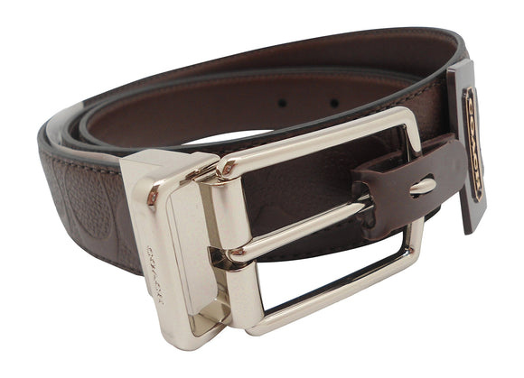 Modern Harness Cut-To-Size Reversible Signature Leather Belt (Coach F55158) Mahogany Belts Coach