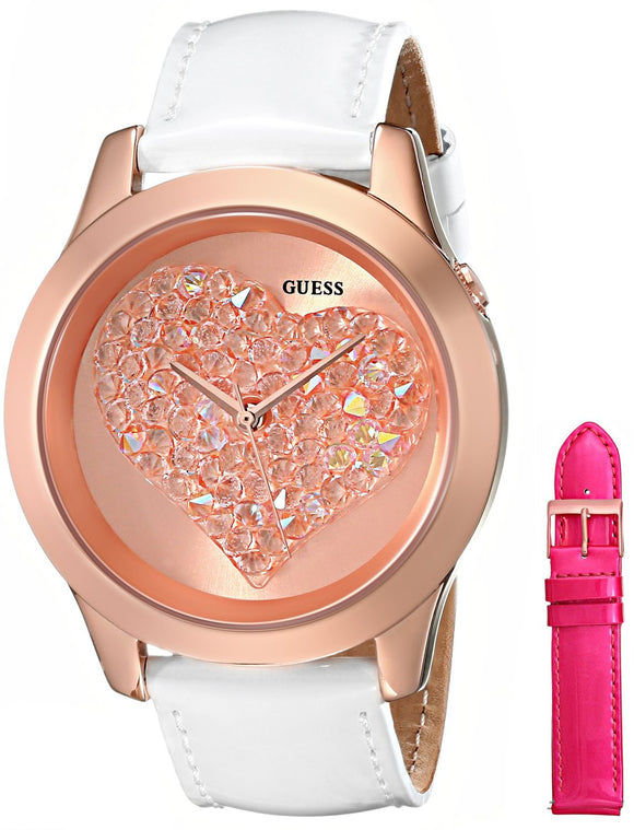 Guess Women'S U0528L1 Interchangeable Wardrobe Rose Gold-Tone Heart Watch Set Womens Watches Guess