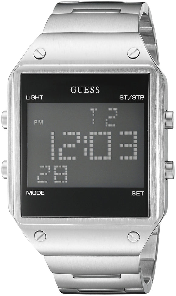 Guess Men'S U0596G1 Digital Display Silver-Tone Watch With Alarm, Dual Time Zone & Chronograph / Stop Watch Functions Mens Watches Guess