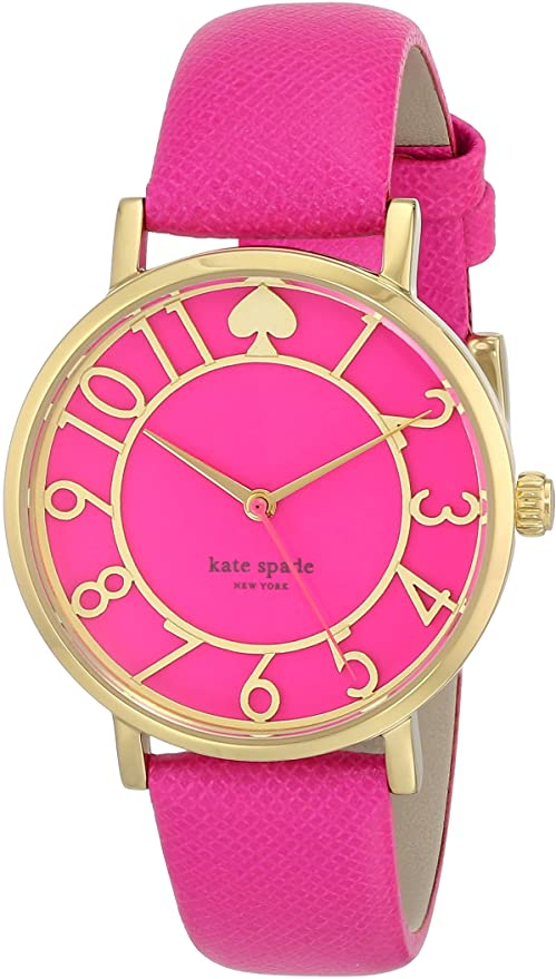 Kate Spade Metro Pink Enamel Cut-out Dial Pink Leather Ladies Watch 1YRU0402