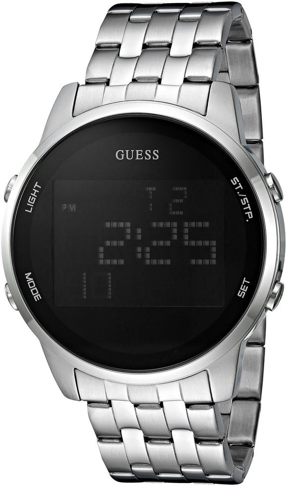 Guess Men'S U0786G1 Trendy Silver-Tone Stainless Steel Watch With Digital Dial And Pilot Buckle Mens Watches Guess