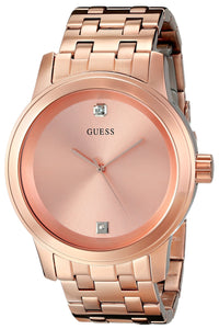 Guess Men'S U0103G2 Rose Gold-Tone Round Diamond Accent Watch Mens Watches Guess
