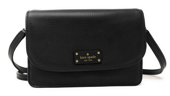 Kate Spade WLRU2983 New York Mikka Grove Street Small Leather Crossbody Bag In Black Womens Handbags Kate Spade