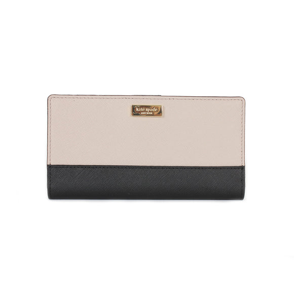 Kate Spade WLRU2673 New York Laurel Way Stacy Saffiano Leather Wallet (Mousse Frosting / Black) Womens Wallets Kate Spade