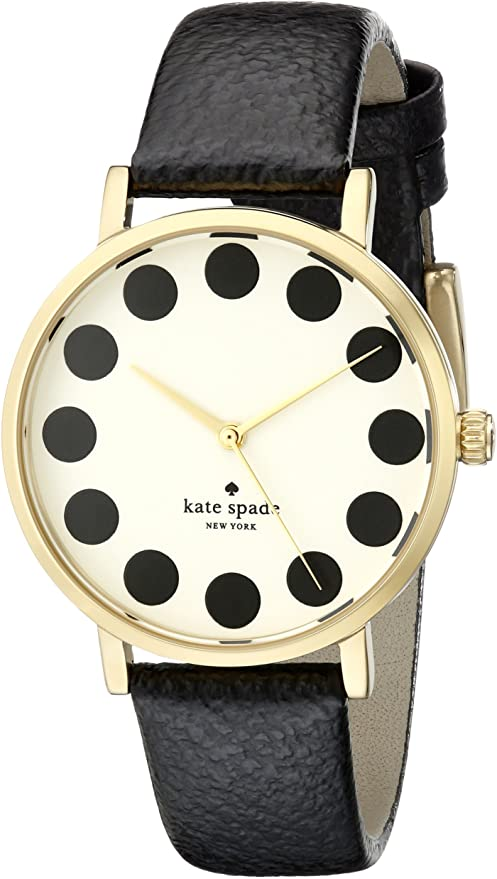 Kate Spade Black Metro Cream Dial Black Leather Ladies Watch 1YRU0107