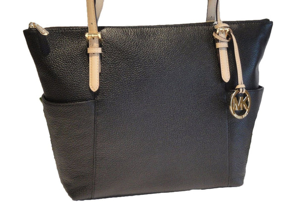 Michael Kors Jet Set East West Top Zip Black Leather Tote Womens Handbags Michael Kors