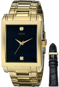 Guess Men'S U0206G1 Interchangeable Wardrobe Watch Set In Gold-Tone With Diamond Accent & Black Dial Mens Watches Guess