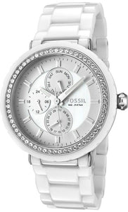 Fossil Women's CE1008 White Ceramic and Stainless Steel Bracelet White Glitz Analog Dial Multifunction Watch Womens Watches Fossil