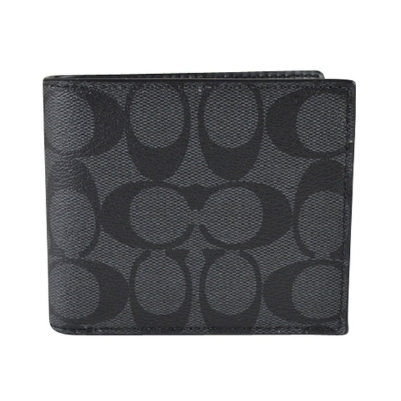 Compact Id Wallet In Signature (Coach F74993) Charcoal/Black