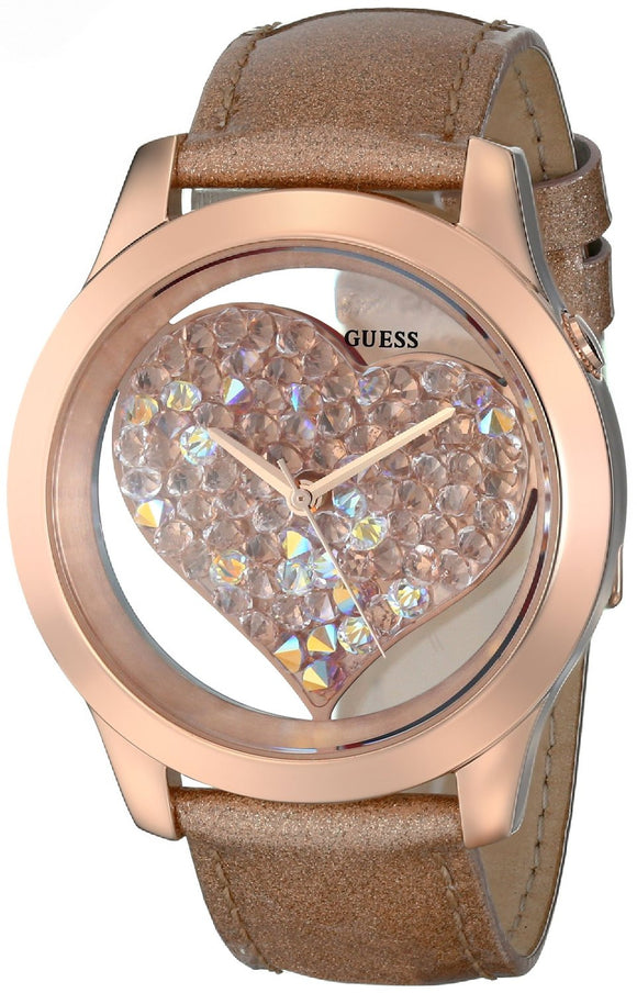 Guess Women'S U0113L3 Rose Gold-Tone Clearly Inspired Crystal Heart Watch Womens Watches Guess