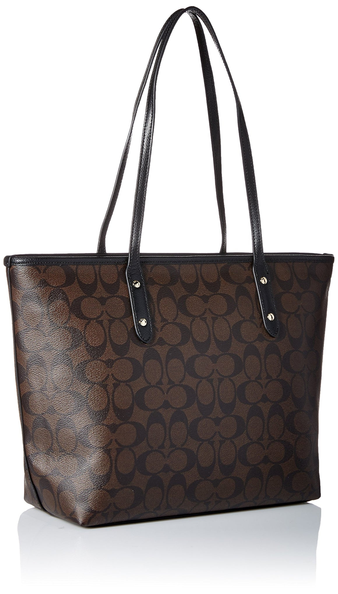 City Zip Tote In Signature (Coach F58292) Imitation Gold/Brown/Black Womens Handbags Coach