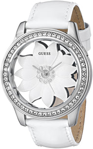 Guess Women'S U0534L1 White Floral Watch With Genuine Patent Leather Strap Womens Watches Guess