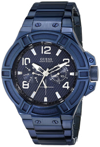 Guess Men's U0218G4 Rigor Iconic Blue Plated Multi-Function Watch Mens Watches Guess