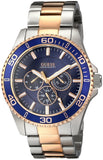 Guess Men'S U0172G3 Two-Tone Rose Gold-Tone Watch With Blue Multi-Function Dial Mens Watches Guess