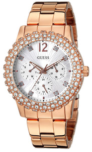 Guess Women'S U0335L3 Rose Gold-Tone Multi-Function Watch With Genuine Crystal Accented Case Womens Watches Guess