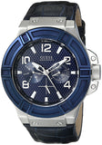 Guess Men'S U0040G7 Rigor Sophisticated Blue Genuine Leather Multi-Function Watch Mens Watches Guess