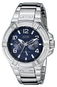 Guess Men'S U0218G2 Rigor Standout Sporty Multi-Function Watch With Blue Dial Mens Watches Guess