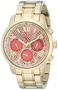 Guess Women'S U0330L11 Stainless Steel Gold-Tone Watch With Coral Python-Print Multi-Function Dial, Day, Date & 24 Hour Int'L Time Womens Watches GUESS
