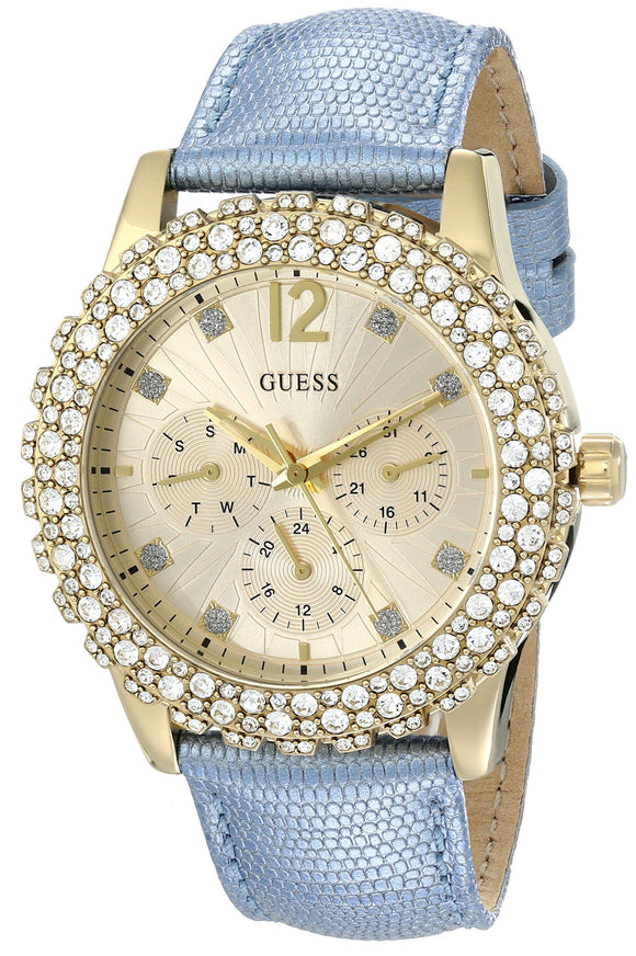 Guess Women'S U0336L6 Multi-Function Gold-Tone Blue Strap Watch Womens Watches Guess
