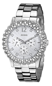 Guess Women'S U0335L1 Silver-Tone Multi-Function Watch With Genuine Crystal Accents Womens Watches Guess