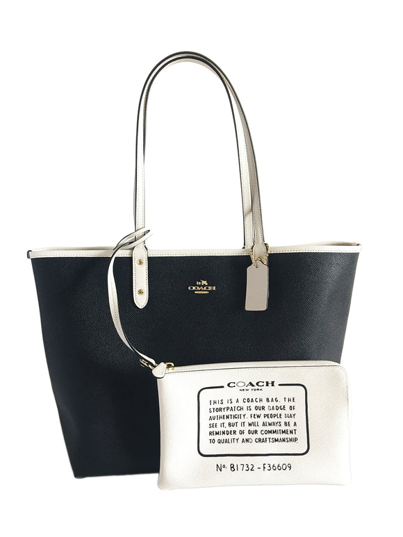 Coach Reversible City Tote In Coated Canvas F36609 (Black/White/Gold) Womens Handbags Coach