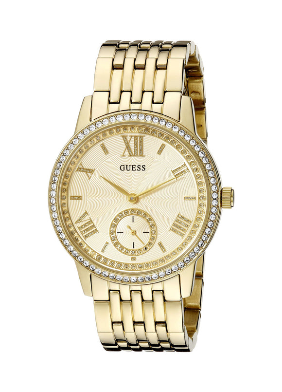 Guess Women'S U0573L2 Classic Gold-Tone Watch With Genuine Crystals Womens Watches Guess