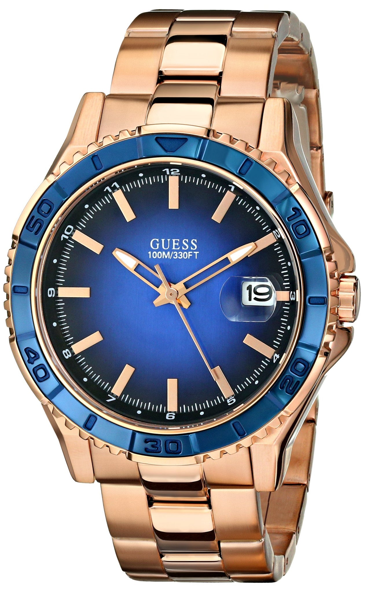 Guess Men S U0244g3 Color Sport Blue Dial Rose Gold Tone Watch